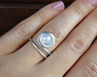 spiral ring silver ring silver wrap ring silver by GoddessArtemis