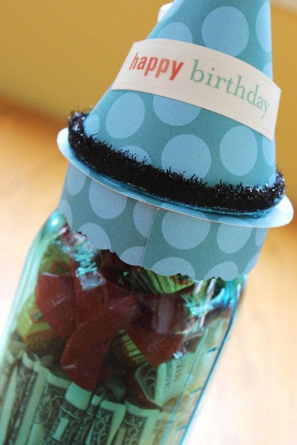 Mason Jar Dollar Bill Birthday Gift