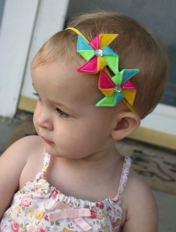 Double Bright Summer Pinwheel Skinny Headband for Baby girl- DIY
