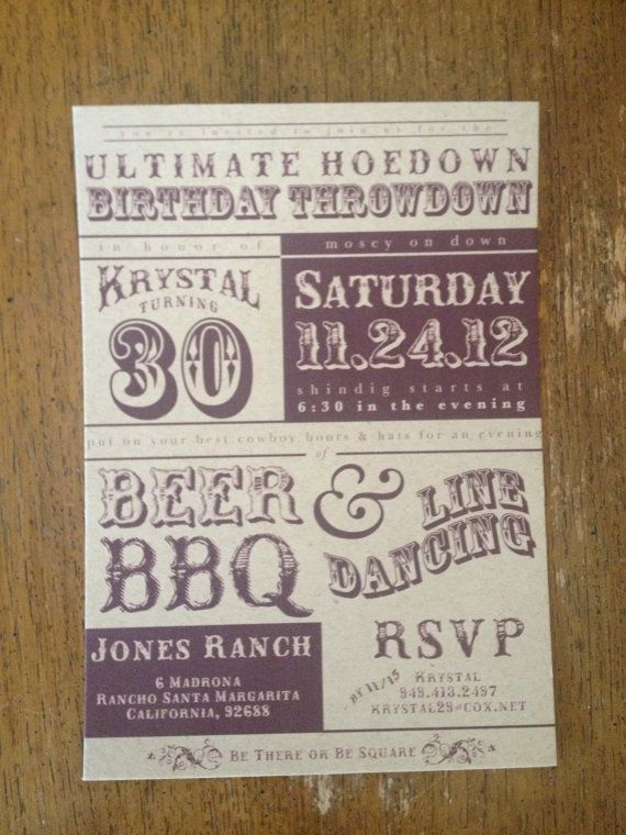 Combine the background from the Holiday Hoedown with the look/wording of this one. Printable Western Hoedown Birthday Invitation by LoboDesign, $20.00