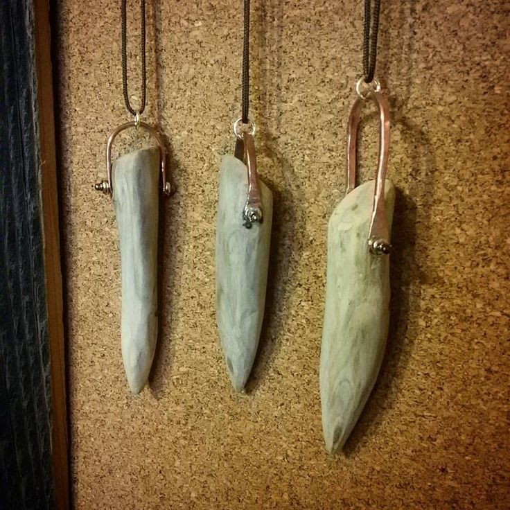 Driftwood pendants with hand formed copper swing bail by Rena Wilhelm