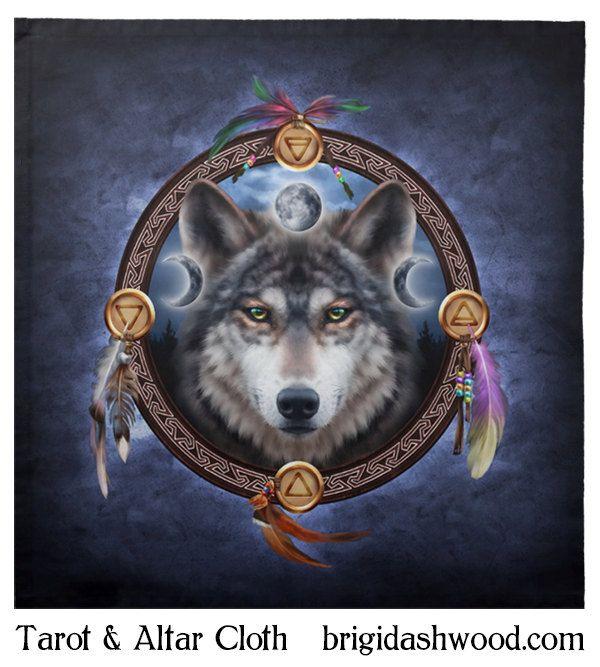 Wolf Guide Tarot ou un linge d'autel païen Wiccan par BrightArrow