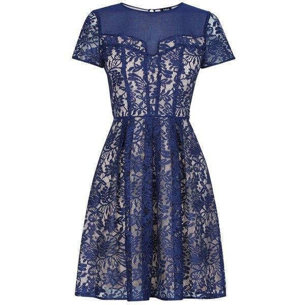 Oasis Lucy Lace Skater Dress, Navy ($19) ❤ liked on Polyvore featuring dresses, long-sleeve midi dresses, short sleeve dress, blue lace dress, navy blue maxi dress and long-sleeve mini dress