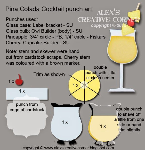 Alex's Creative Corner: Pina Colada Cocktail punch art instructions