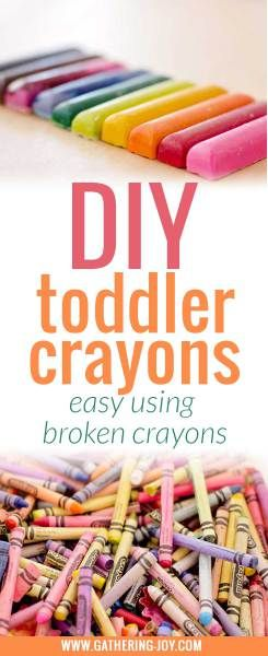 Crayons should be a happy thing. Broken Crayons are sad. Make them happy again. DIY Toddler Crayons, New Life for Broken Crayons in just three easy steps.