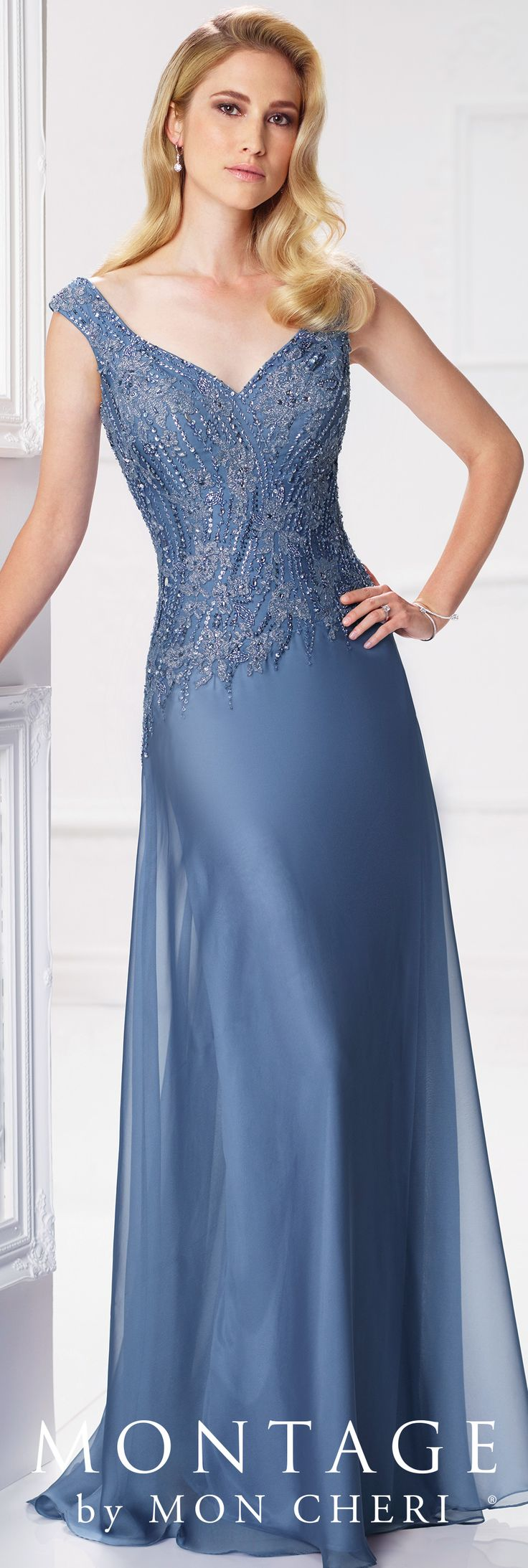 Formal Evening Gowns by Mon Cheri - Spring 2017 - Style No. 117903 - wedgwood blue chiffon and beaded lace evening dress