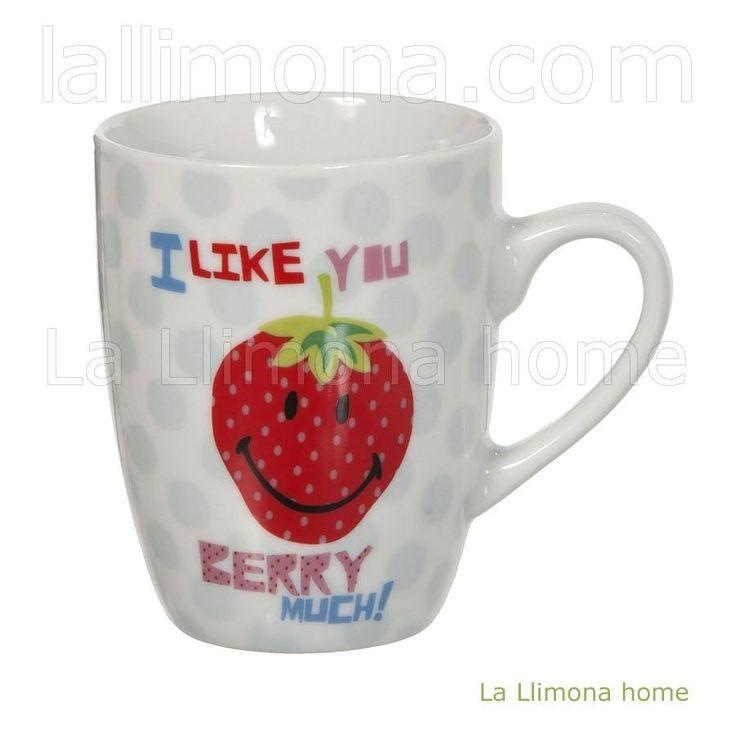 Nici tazas con mensaje. Taza Nici fresa 'I Like You Berry Much'