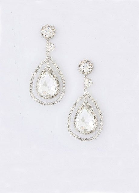 Bridal Crystal Earrings, Art Deco Earrings, Bridal Accessories, Bridal Jewelry, Rhinestones Earrings,  - KRISTEN. $39.00, via Etsy.