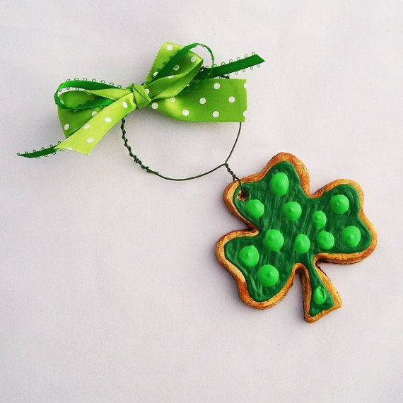 Lucky Clover Ornament Royal Iced Sugar Cookie by TheVanityFaire, $9.00