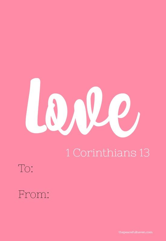 FREE PRINTABLE VALENTINES CARDS! Help your kids share the LOVE of Christ this year. Happy Valentine's Day! #valentinesdaycards #freeprintable #schoolvalentines #freevalentinescards #1corinthians13