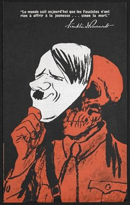 From the Propaganda blog post 'Propaganda and Obedience: Noam Chomsky in conversation at the British Library' Image: Franklin Roosevelt's message to young people (illustrated with Hitler mask and skull) O.W.I. (Office of War Information, United States) USF. 4, 1942 © Crown copyright