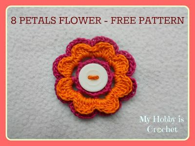 2 Layered 8 petal thread flower- Free crochet pattern with tutorial, FP 2/15