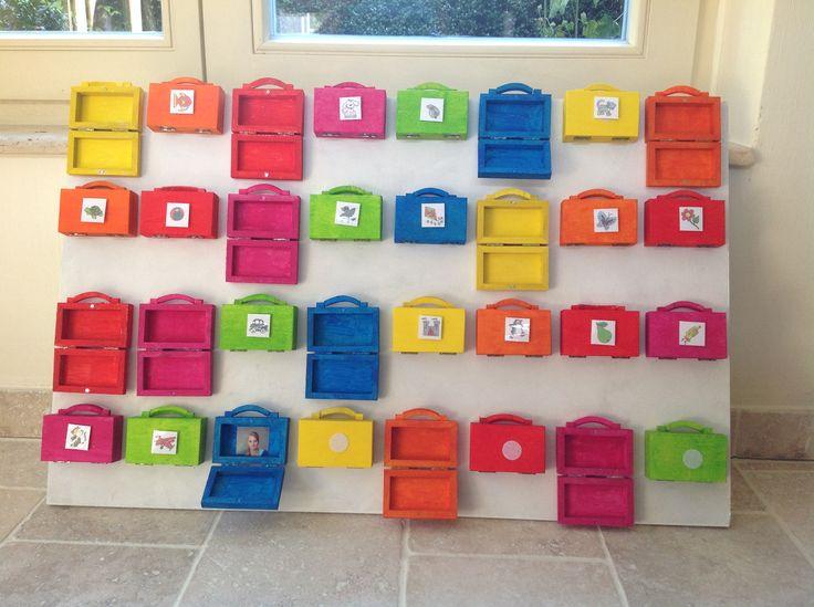Aanwezigheidsbord als de koffertjes open zijn (eventueel nog een foto van de kinderen in het koffertje)