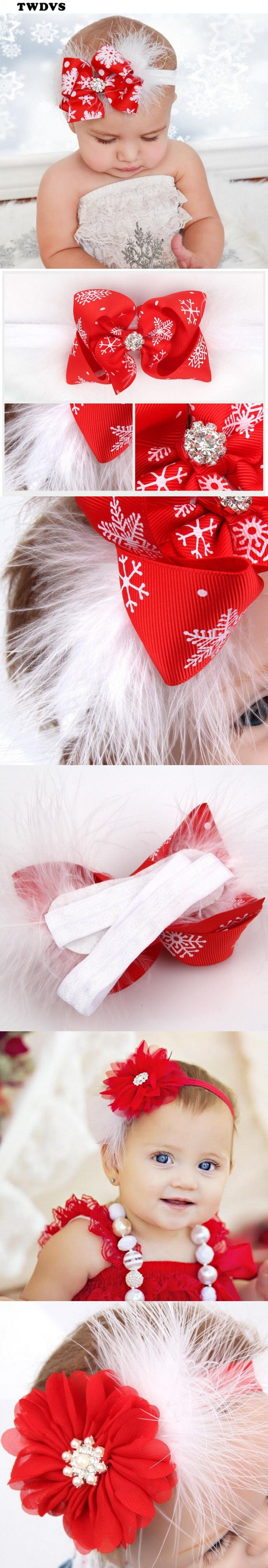 Baby Christmas Headband Feather Bow Snow Flower Girls HairBand Toddler Baby Headwear Merry Christmas Hair Accessories TWDVS W245 $2.2