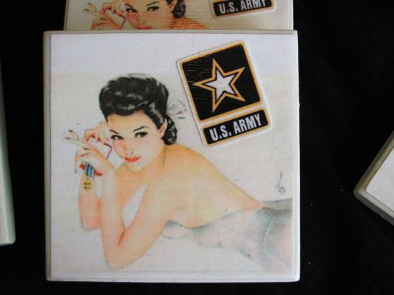 Vintage Army  Vargas Girls Tile Coasters  Set of by funnstuffpdx67