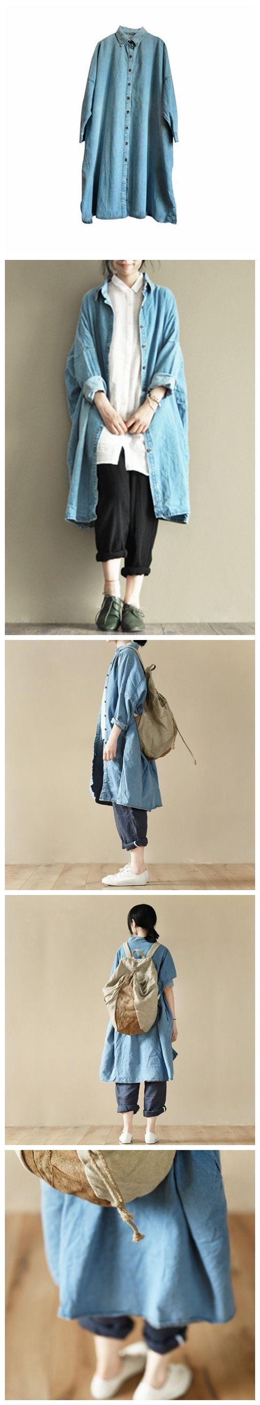 Blue Denim Boyfriend Long Shirt Women Tops LR500