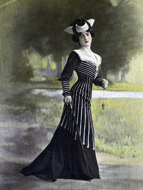 "6-11-11  Vintage tinted photo postcard - lovely lady in an Edwardian ""little black dress""..."