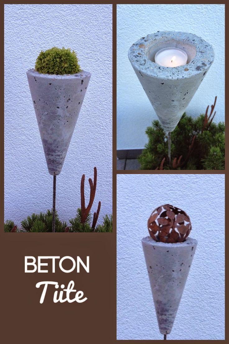 Wohnbrise: Beton Tüte, Beton Deko, Betondeko für den Garten