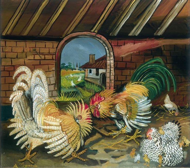 Lotta di galli - Antonio  Ligabue - 1945