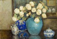 Żółte róże i porcelana by Stefan Filipkiewicz