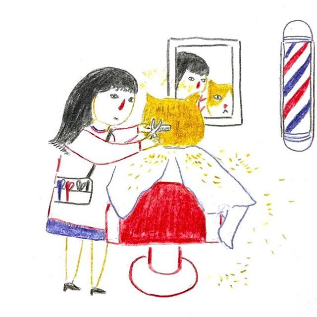 💇🏼‍♂️  #365daysofdrawing #365daysofpaint #365project #illustration #sketch #barber #salon #haircut #scissors #fluffy #newstyle #catoftheday #ilovemom #ネコ #イラスト #drawing