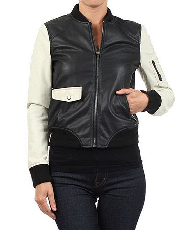 This Ivory & Black Bomber Jacket - Women by Zinga is perfect! #zulilyfinds