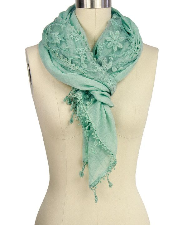 Look at this Mint Floral Lace Scarf on #zulily today!