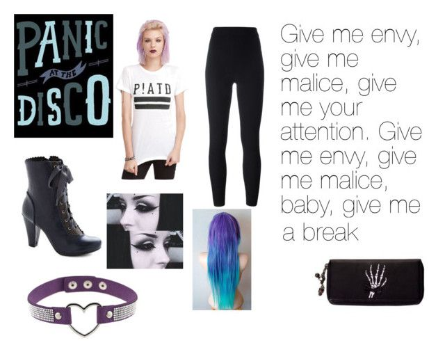"""""""Give me envy, give me malice, give me your attention. Give me envy, give me malice, baby, give me a break! -Panic! at the Disco, Time To Dance"""" by canada-nickname ❤ liked on Polyvore featuring Hot Topic and Yeezy by Kanye West"""