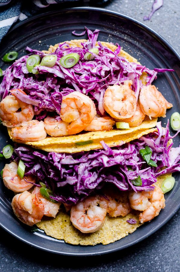 Easy Shrimp Tacos Recipe with red cabbage coleslaw and cajun shrimp, made healthy and simple in under 30 minutes.   ifoodreal.com
