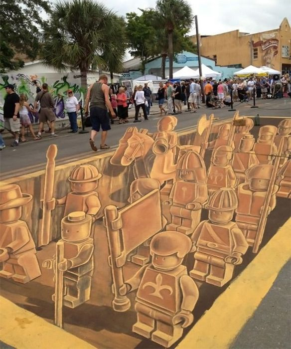 The 3D Chalk street art piece is inspired by the Terracotta Army of Qin Shi Huangteam. Created by a team led by Leon Keer at the 4th Sarasota Chalkfestival in Florida.