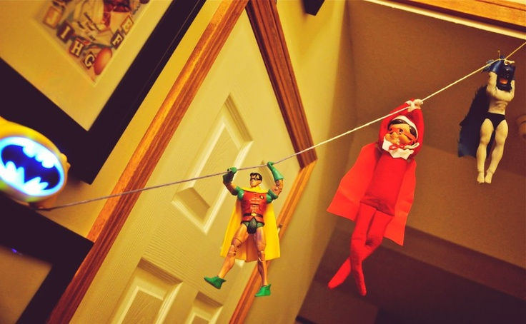 Elf on the Shelf - zip lining with super heroes, very appropriate for the macabees!