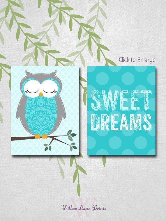 owl nursery room decor wall art prints baby by WillowLanePrints