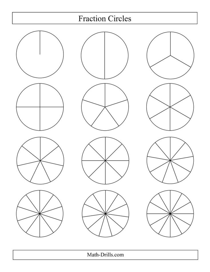 The Small Black and White Fraction Circles no Labels (E