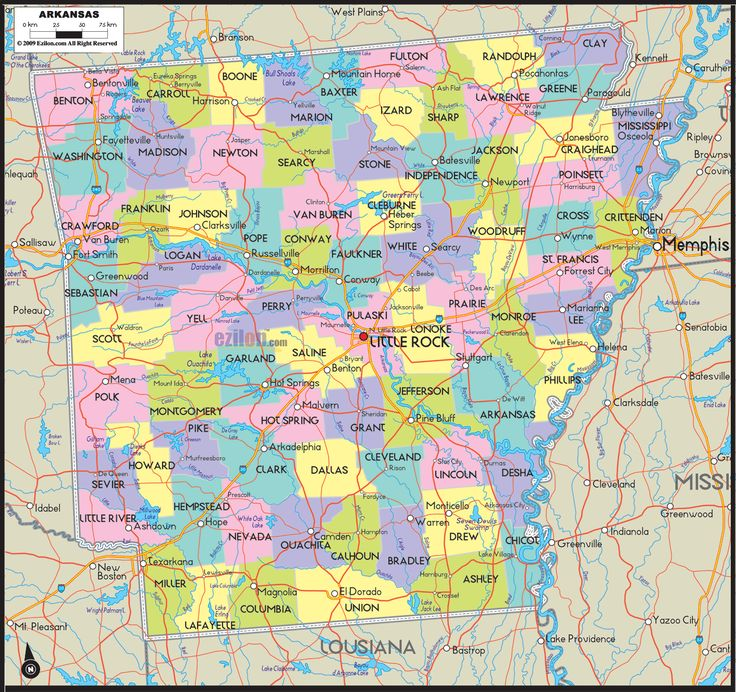 Usa Map Arkansas: State Of Arkansas Map With Outlines Of Road Networks