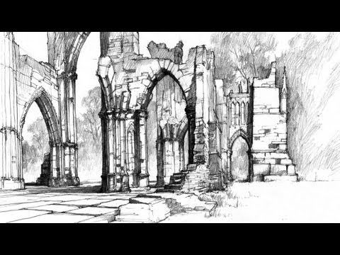 ▶ How to draw Gothic Ruins [PL/ENG sub] - Speed Drawing 10 - Michał Orłowski - YouTube