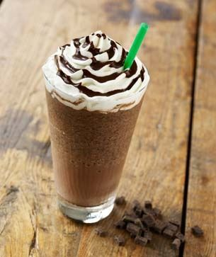 Double Chocolaty Chip Frappuccino:: Recipe::1 cup of milk (whole, reduced fat, or skim), 2 tablespoons of sugar, 1/3 cup chocolate chips (mmm... chocolate!), 3 tablespoons chocolate syrup (Hersheys will do), 2 cups of ice, and 1/8 teaspoon vanilla extract.'