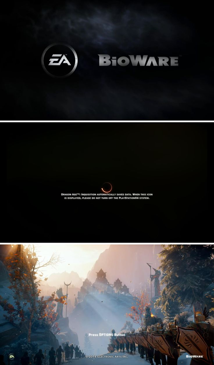 "Start Sequence UI (User Interface) for the game ""Dragon Age™ – Inquisition"" by Bioware™ Copyright Electronic Arts Inc. – Screenshots taken on PS4 Console by Pinterest user: @fabianzaf"