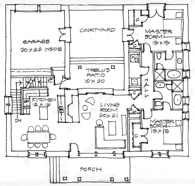 13 best floor plans images on pinterest house floor for Small adobe house plans