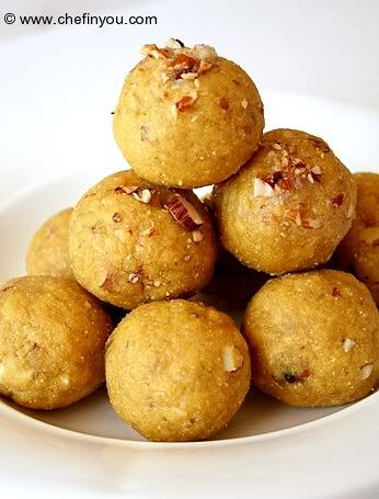 Besan Rava Ladoo Recipe 1-1/2 cups Besan (chana flour available in Indian Stores) 4 tbsp Sooji / coarse Semolina for giving texture - not flour. (Optional. Instead replace with chickpea flour to make this recipe gluten free) 1/2 cup Ghee (clarified butter) 3/4th cup sugar 1 tsp Cardamom powder 4-5 tbsp almonds 1 tbsp raisins