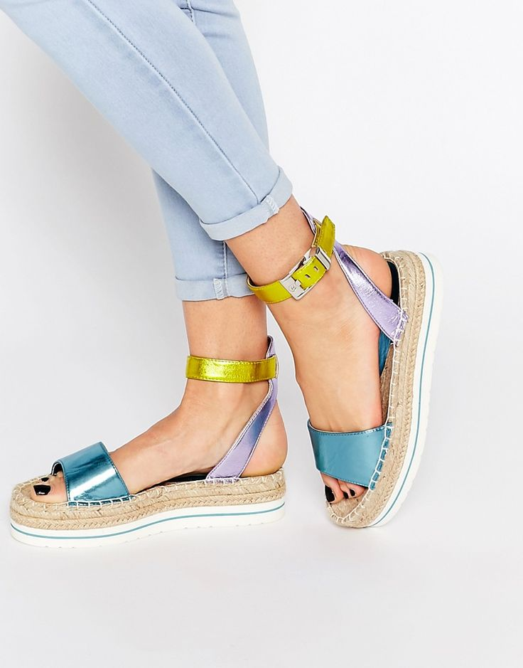 Image 1 ofLove Moschino Metallic Espadrille Sandals