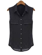 Backless lace stitching  sleeveless shirt