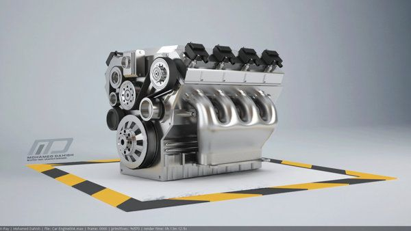 car engine 8 cylinders 3d modeling by M. Dahish, via Behance