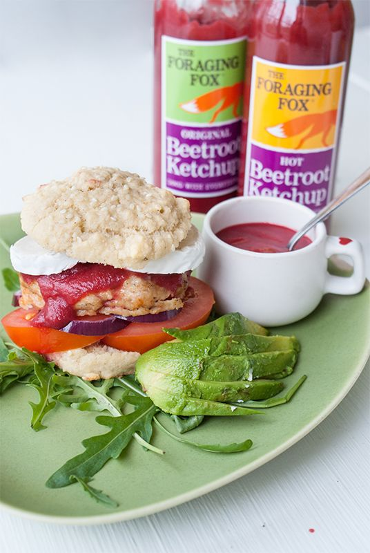 The Foraging Fox Beetroot Ketchup with chicken & feta burger