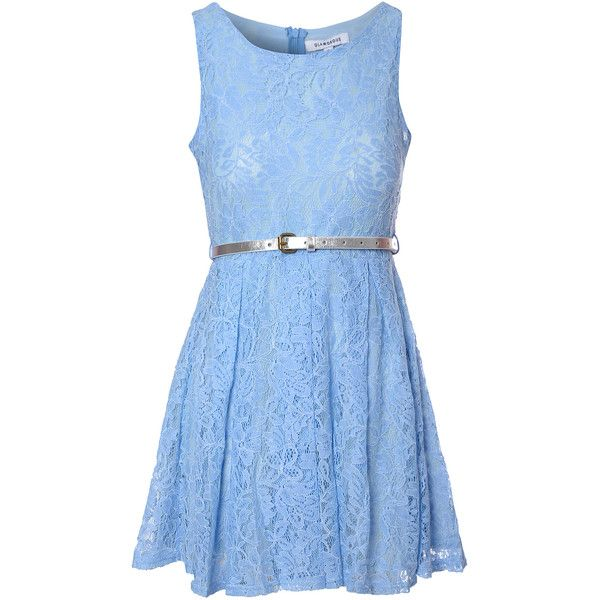 Light Blue Lace Belted Dress (£12) ❤ liked on Polyvore featuring dresses, blue, scoop neck dress, sleeveless dress, belted dress, lace skater dress and glamorous dresses