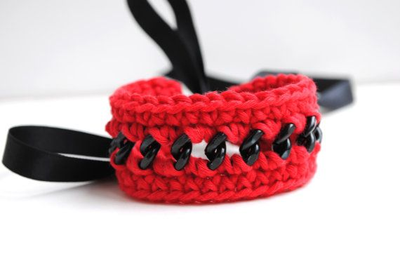 Red and black crocheted bracelet red cotton and by elfinadesign