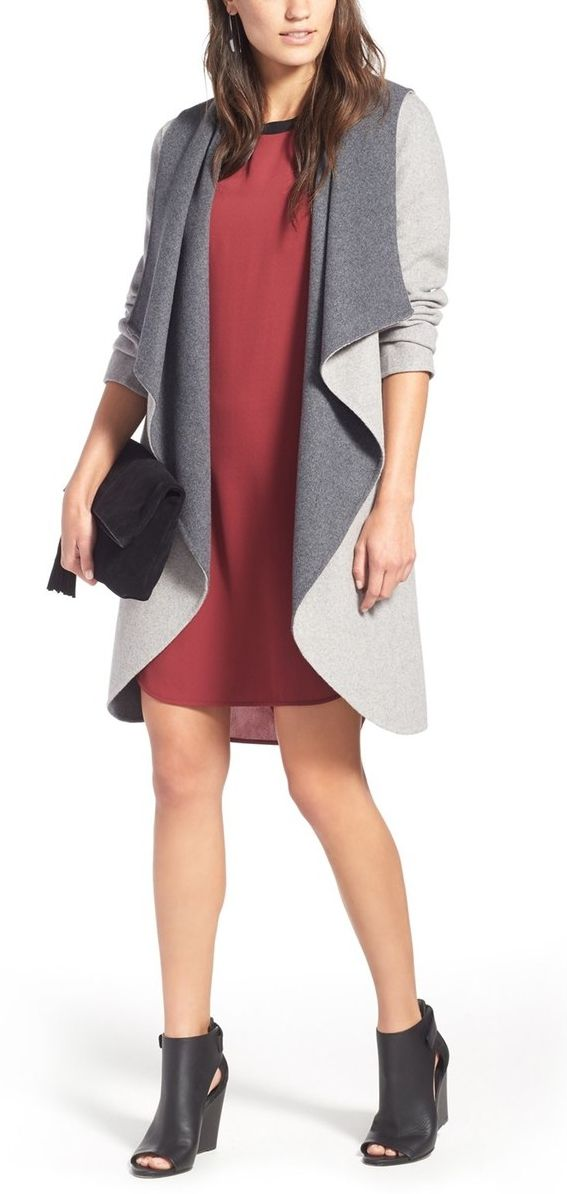 Boldly draped, oversized front panels add a witty, insouciant vibe to this double-face wool-blend coat from the NSale.