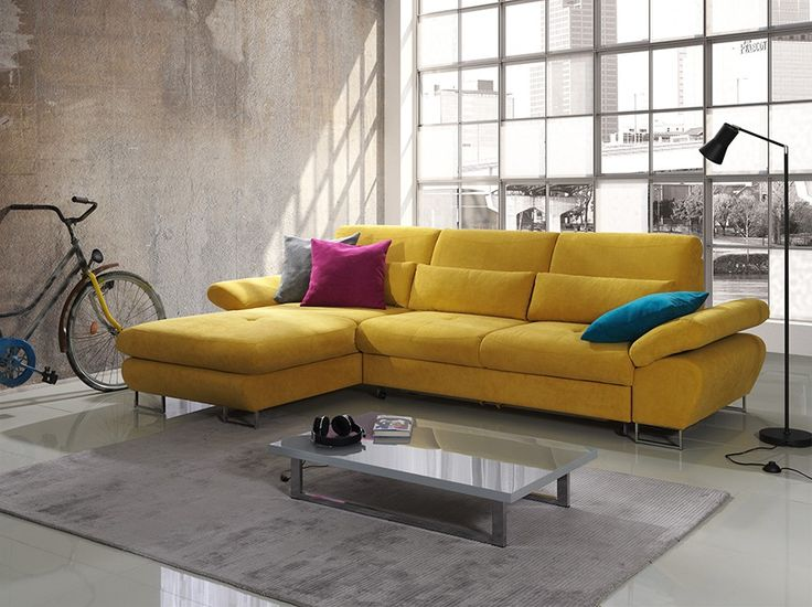 Favori Canapé d'angle convertible en tissu jaune moutarde DOMIZIO, avec  NU14