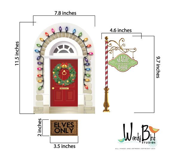 Imagine your childs surprise when this little elf door way to the North Pole magically appears in your home this season....so this is how your favorite elf gets to your house! What a fun tradition it could be to search the house for the appearance of the magic door.  Includes door that is all decked out with lights and a wreath and the North Pole sign and a cute little elves only door mat.  Unlike our solid standard vinyl decals, Printed Decals are made from a premium finely woven polyester…