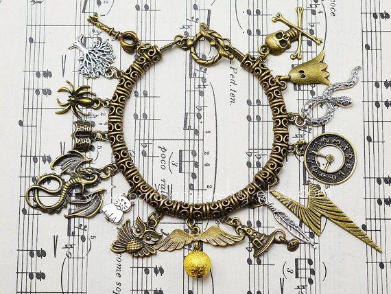 Steampunk Harry Potter Charm Bracelet - antique brass golden snitch,lighting,dragon Lord Voldemort Deathly Horcrux charms bracelet
