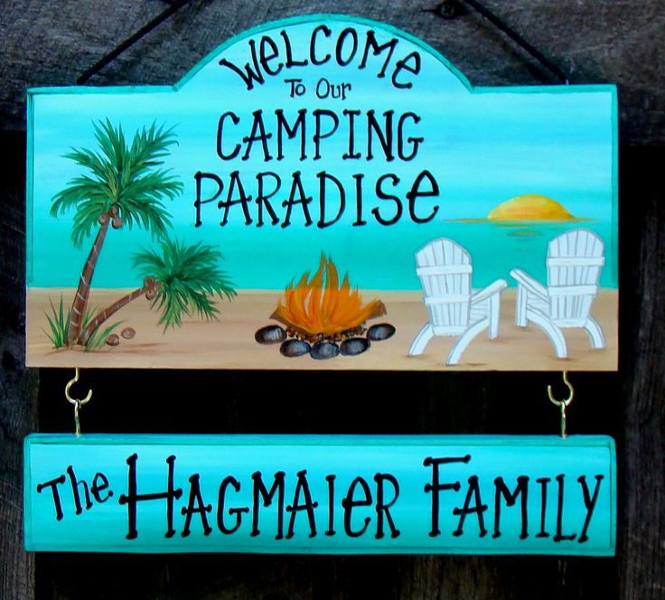 Welcome To Our Camping Paradise Sign Campsite Or Backyard With Your Name Palm Tree